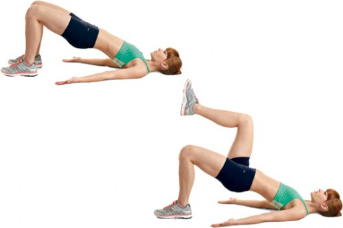 Glute bridge marching